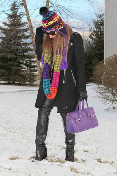 black Zara coat - black ae hat - black ae scarf - purple Lancelot Knight bag