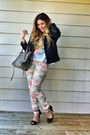 White-floral-skinny-zara-pants-black-leather-biker-black-rivet-jacket