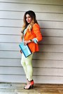 Orange-zara-blazer-sky-blue-metallic-clutch-ysl-bag
