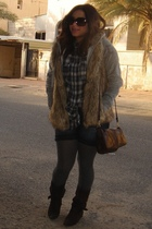 gray Zara sweater - brown Stradivarious vest - blue Zara shorts - brown H&M purs