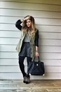Black-leather-shorts-black-rivet-shorts-olive-green-parka-zara-jacket