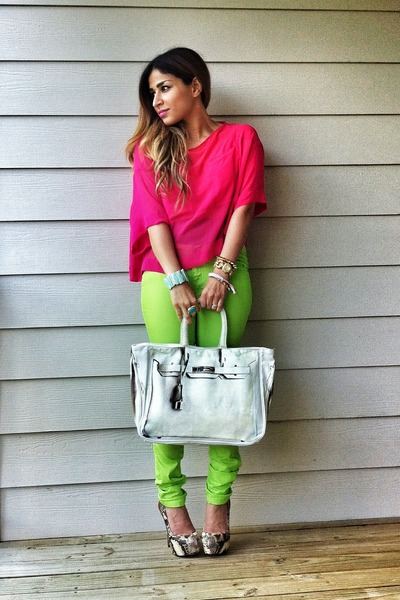 Hot Pink H&M Shirts, Lime Green Forever 21 Pants, White Banane ...