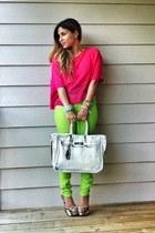 hot pink H&M shirt - lime green Forever 21 pants - white Banane Taipei belt