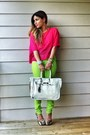 Hot-pink-h-m-shirt-white-banane-taipei-belt-lime-green-forever-21-pants