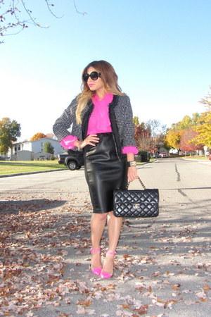 hot pink Forever 21 shirt - black Forever 21 jacket - black Chanel bag