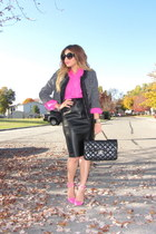 hot pink Forever 21 shirt - black Forever 21 jacket - black Chanel bag