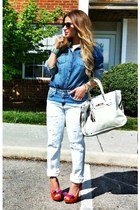 orange rue21 heels - blue boyfriend jeans Zara jeans