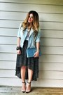 Sky-blue-metallic-clutch-ysl-bag-light-blue-denim-biker-promod-jacket