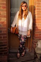 beige Topshop cardigan - brown Topshop shoes - brown thrifted purse - Primark le