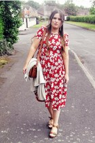 red vintage dress - tawny thrifted bag - tawny Topshop sandals - off white Topsh