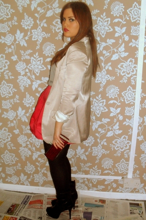 white H&M blazer - red Primark skirt - black Topshop boots