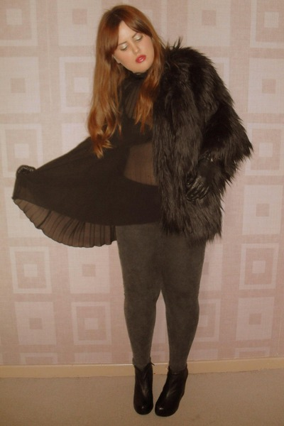 black River Island coat - black Aldo boots - black Primark top