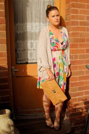 green H&M dress - yellow Primark purse - beige Topshop cardigan - beige Topshop