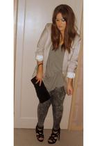 white H&M blazer - gray Newlook leggings - gray Topshop vest - black Primark sho