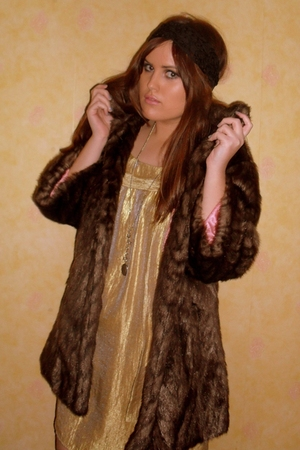 brown River Island coat - gold Topshop dress - black Miss Selfridge accessories