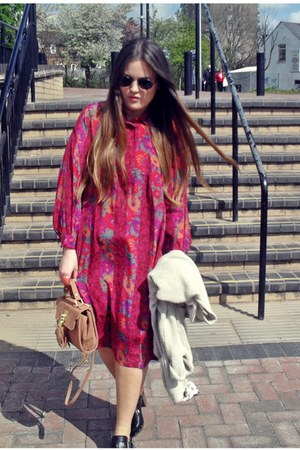magenta 70s vintage dress - orange Topshop bag - black Zara clogs
