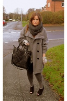 gray Topshop scarf - black Newlook shoes - beige River Island gloves - gray Prim