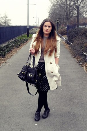 ivory Primark coat - black polka dot vintage skirt - camel Topshop sweatshirt