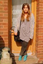 green River Island shoes - gray Topshop cardigan - black Zara purse