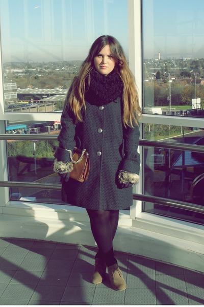dark green Primark coat - tawny vintage bag - camel asos boots - black Primark g