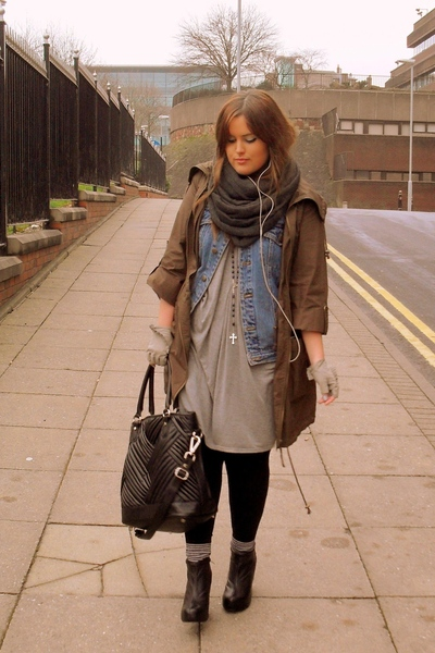 black Aldo boots - blue thrifted jacket - green Primark jacket - black Zara bag