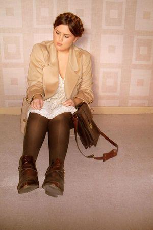 beige jaeger blazer - brown russell & bromley boots