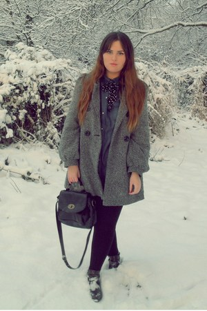 heather gray Primark coat - blue Primark shirt - black Topshop tie - dark brown