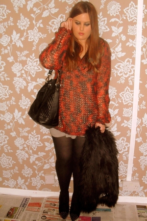 orange Topshop sweater - black River Island coat - black Topshop shoes - black Z