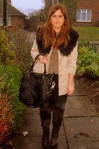 brown Topshop sweater - black Topshop pants - beige Primark jacket - black Zara