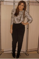 black Topshop pants - black Topshop boots - gray warehouse necklace