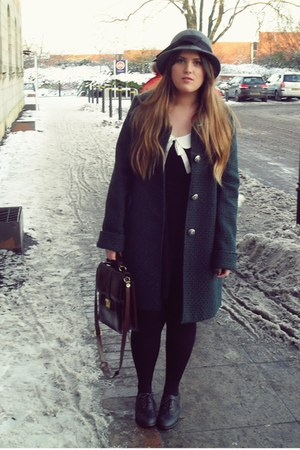 forest green Primark coat - black Primark dress - black Primark shoes - dark bro