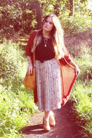 heather gray thrifted skirt - beige asos shoes - tan vintage bag