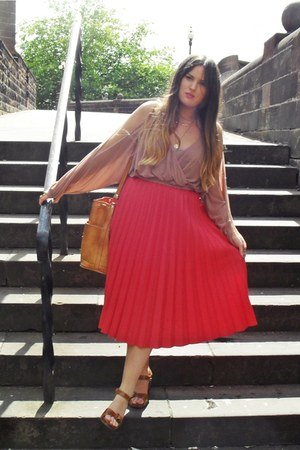 bubble gum pleated thrifted skirt - pink worn as top Topshop dress