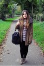 Black-asos-bag-beige-asos-boots-red-thrift-shirt-beige-tk-maxx-coat