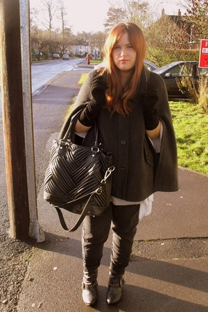 black Topshop pants - gray Oasis coat - black Zara accessories
