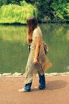 beige River Island cardigan - orange moms purse - blue jeans - black Primark sho