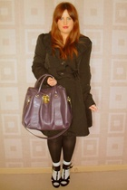 black shoes - gray socks - purple purse - black coat