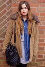 Beige-tk-maxx-coat-black-asos-bag-blue-primark-shirt-beige-asos-boots