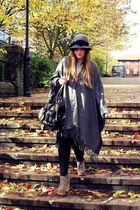 gray thrifted jacket - beige asos boots - black TK Maxx - gray River Island hat