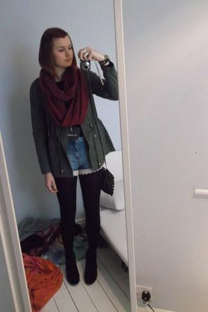 Miss Selfridge jacket - Topshop boots - Miss Selfridge tights