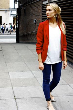 red blazer vintage blazer - skinny jeans Topshop jeans - pointy shoes Aldo flats
