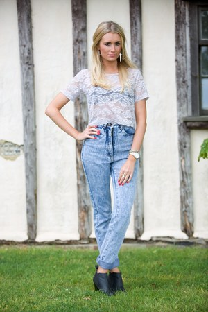 lace crop top Topshop top - Missguided boots - vintage jeans