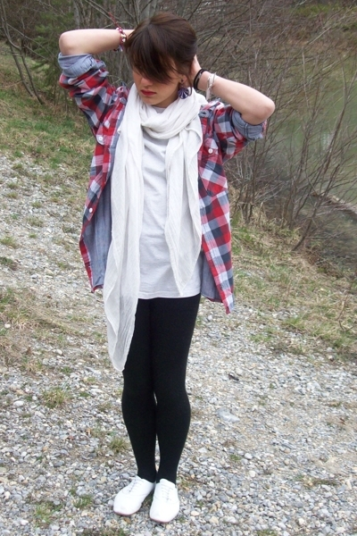 scarf - H&M shirt - leggings - derby shoes