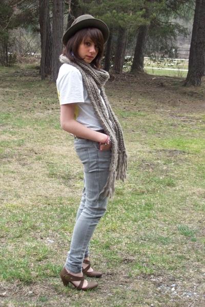 Home hat - scarf - WESC t-shirt - Cheap Monday jeans - flea market shoes