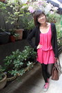Hot-pink-dress-black-tights-brown-bag-heather-gray-sneakers
