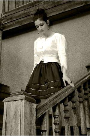 black skirt - white blouse
