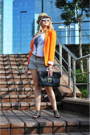 orange Zara blazer - beige H&M shorts - black H&M sandals
