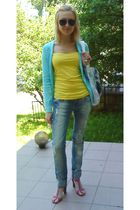 blue Zara cardigan - yellow Mexx top - white H&M accessories - blue Zara Trf jea