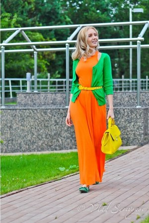 chartreuse H&M cardigan - light orange Sisley dress - yellow asos bag