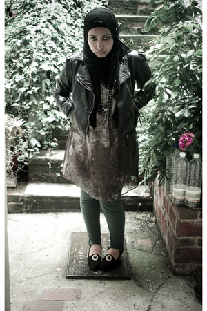 Primark jacket - Zara dress - vintage leggings - vintage shoes